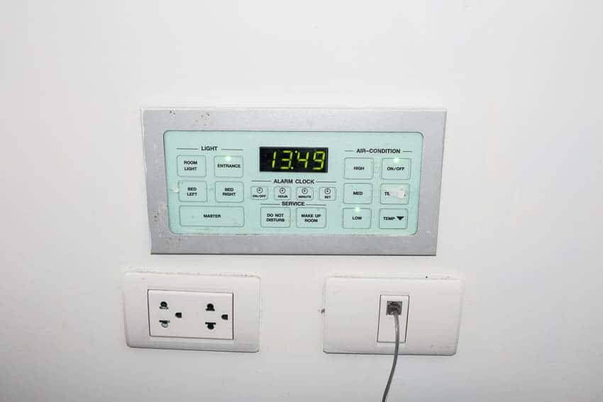 AC and Light control panel for Page 10 hotel room