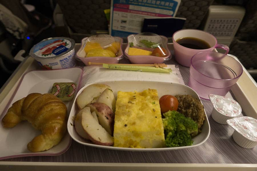Breakfast on EVA Air Elite Class