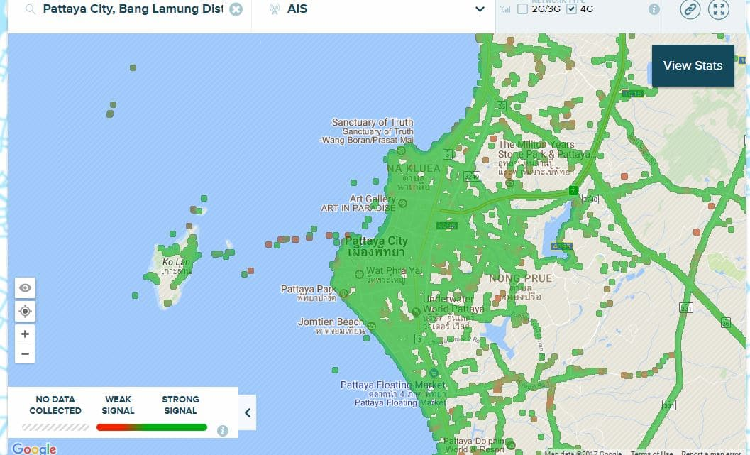 AIS 12Call 4G Coverage in Pattaya