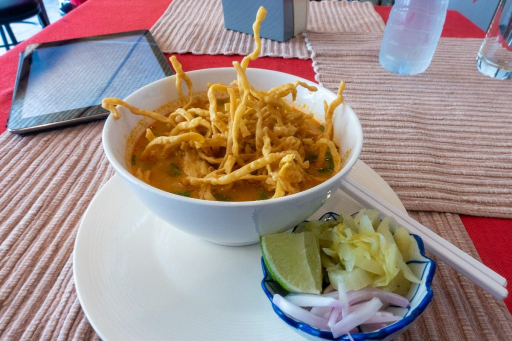 A bowl of Khao Soi curry in Chiang Mai Thailand
