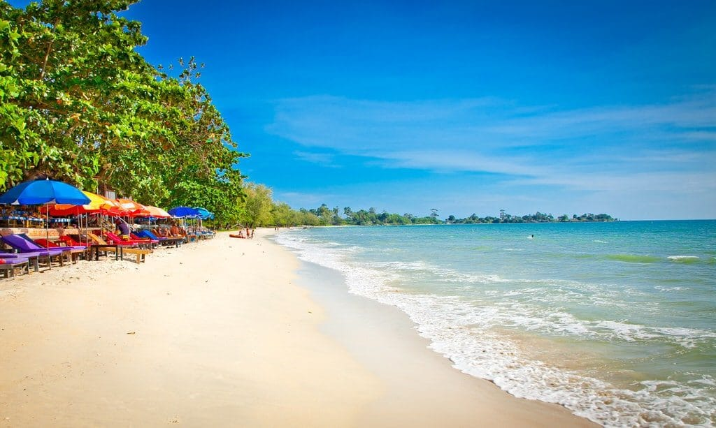 Trees lining the beachfront at Independence Beach Sihanoukville Cambodia.